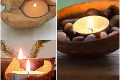 Coconut shell instant candle arrangement