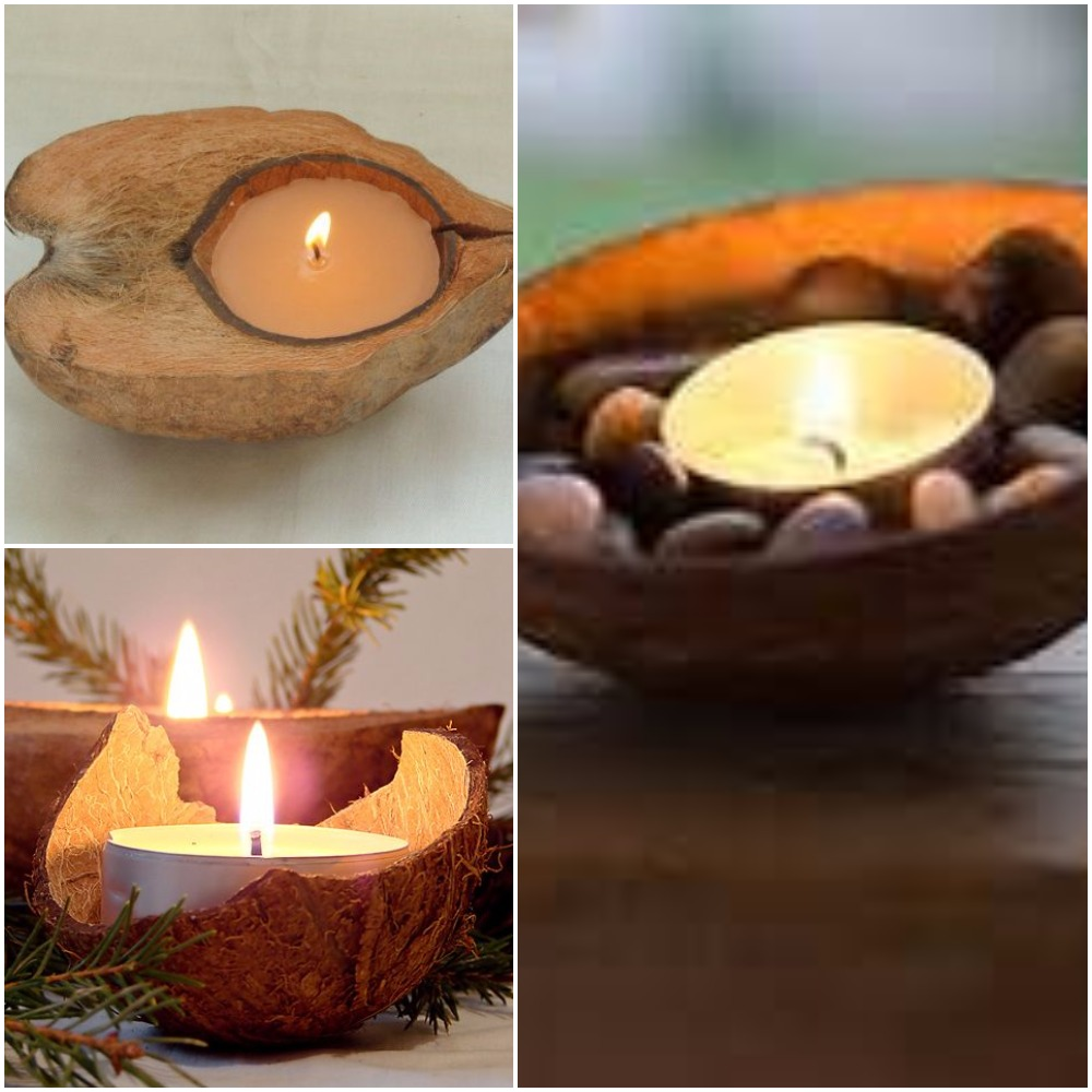 Coconut shell instant candle arrangement