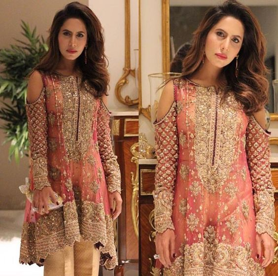 Cold shoulder short kurta