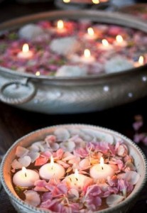Decorating home with rose petals