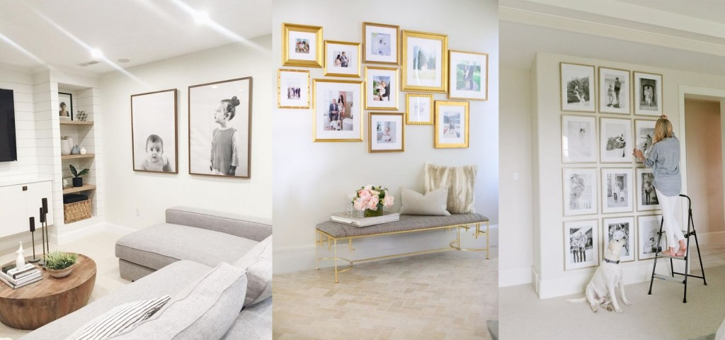 Decorating white walls with photo frames