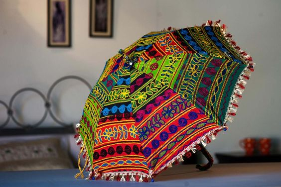 Embroidered Umbrella for Holi decoration