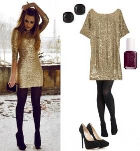 Golden sequence short dress