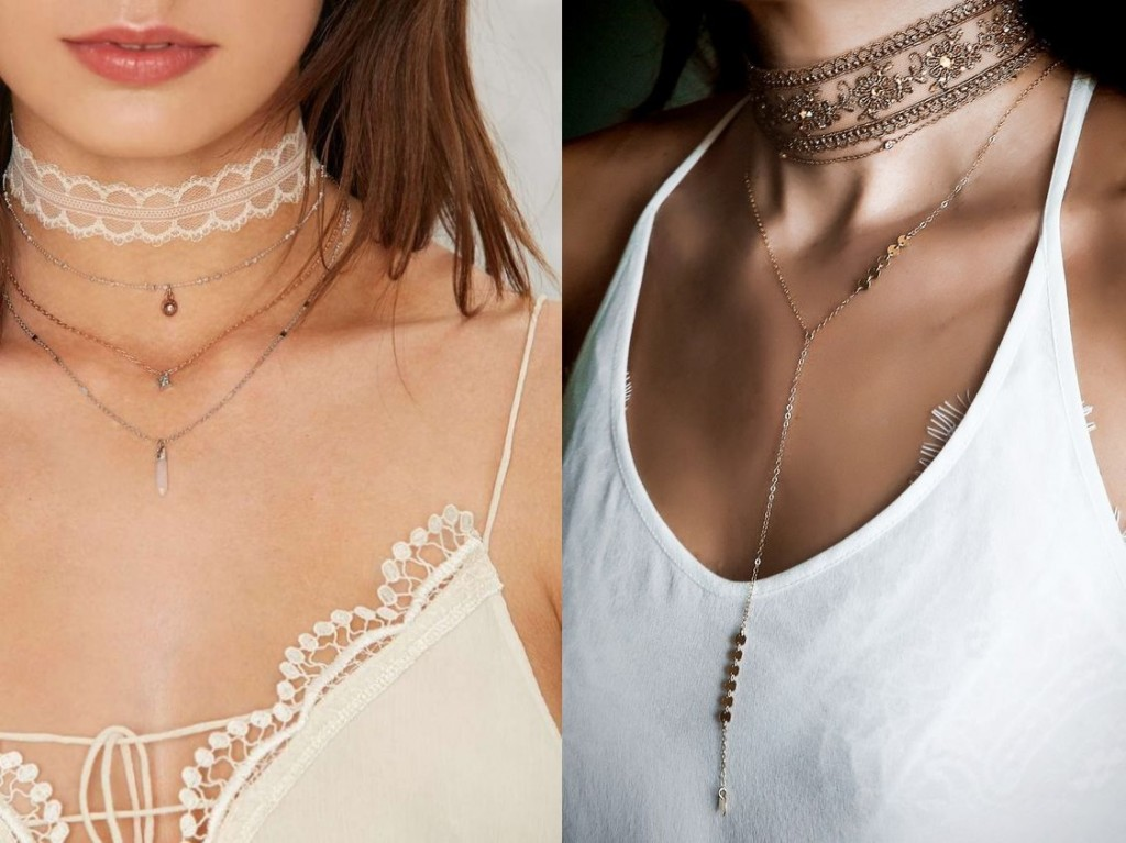 Lace choker with chain