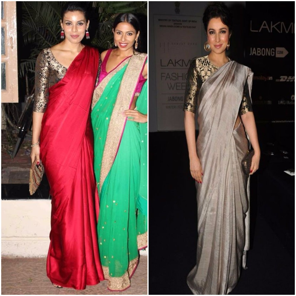 how to make design on plain saree at home