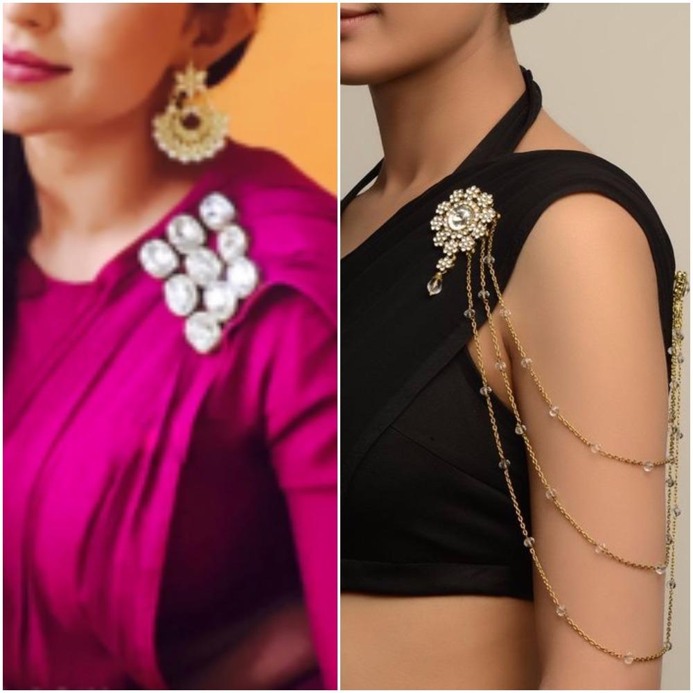 Plain saree with printed blouses