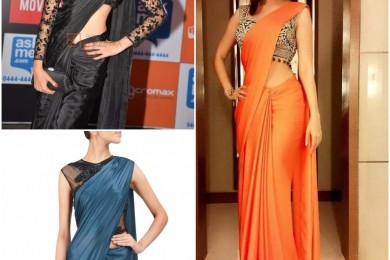 Plain saree with embroidered blouses