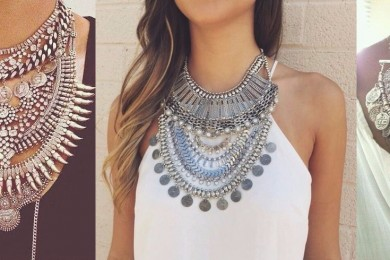 Silver jewlery with white and black
