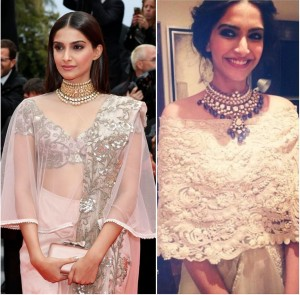 Soonam kapoor in cape and kundan necklace