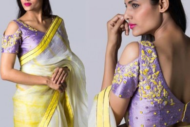 Cold sholder blouses with tie and dye saree