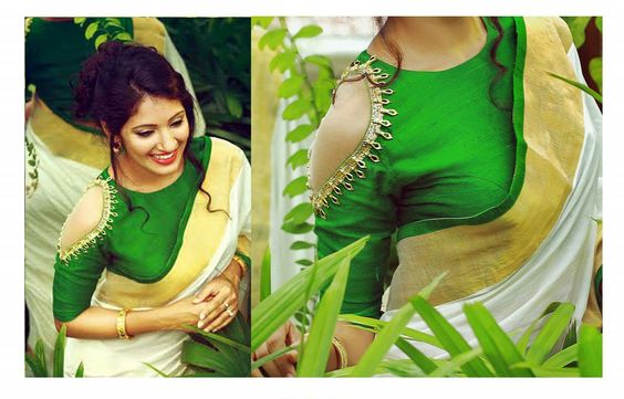 Cold shoulder blouse with traditional saree