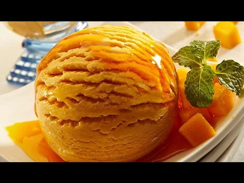 Homemade mango ice cream