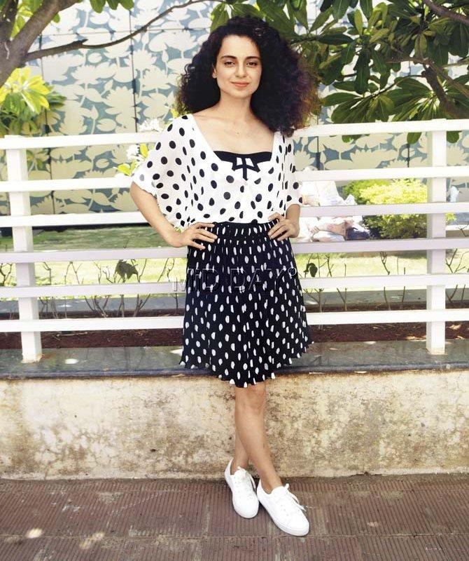 Kangana Ranaut in Polka dot outfit