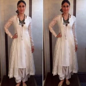 Kareena kapoor in white kurta salwar and angrakha