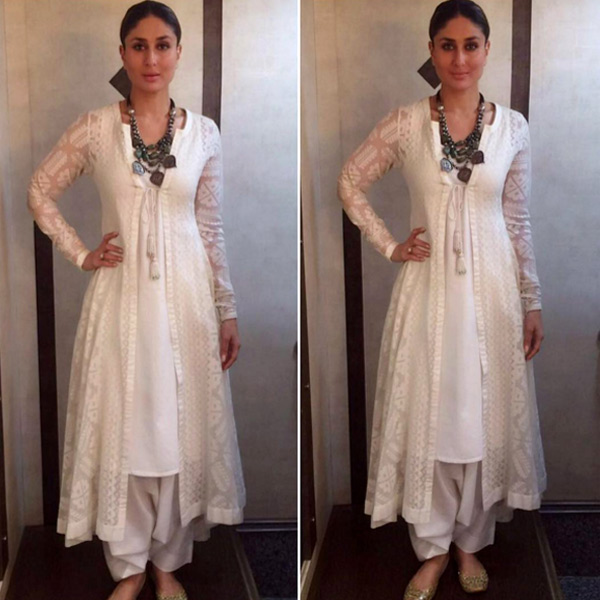 Kareena kapoor in white kurta salwar and angrakha