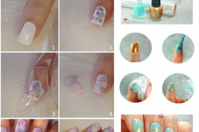Plastic wrap ideas for nail art