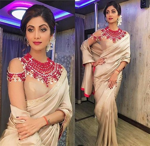 Shilpa Shetty in Cold shoulder blouse