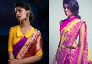 Shirt style collars for saree blouses