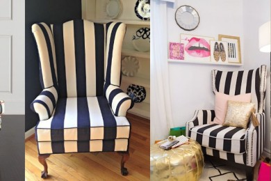 Striped High back chairs