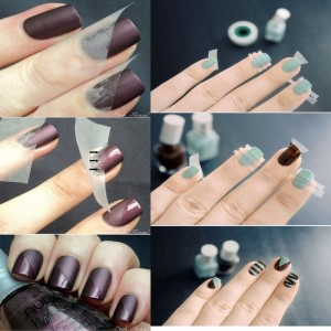 Using tape for nail art designs