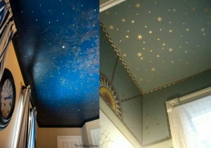 Faux midnight sky wallpaper ceiling