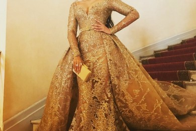 Sonam Kapoor in a gold Elie Saab gown