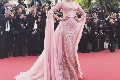 Sonam Kapoor in  pink couture gown on Red Carpet