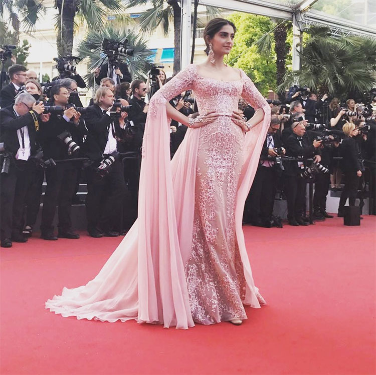 Sonam Kapoor in pink couture gown on RedCarpet 2