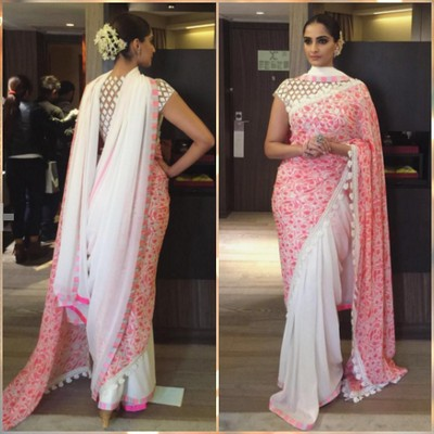 Sonam kapoor in doble palla saree