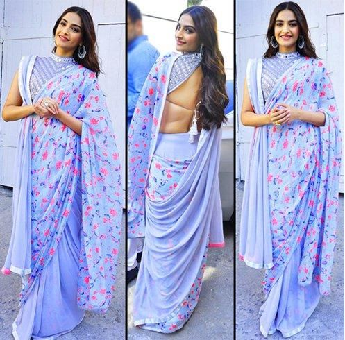 Sonam kapoor in double palla saree