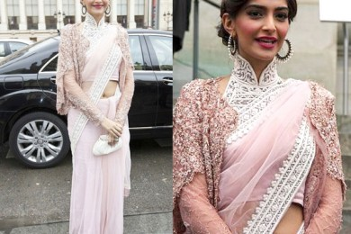 Sonam kapoor in saree and cape