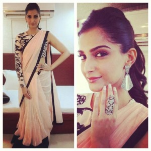 Sonam kapoor in stylish off shoulder blouse