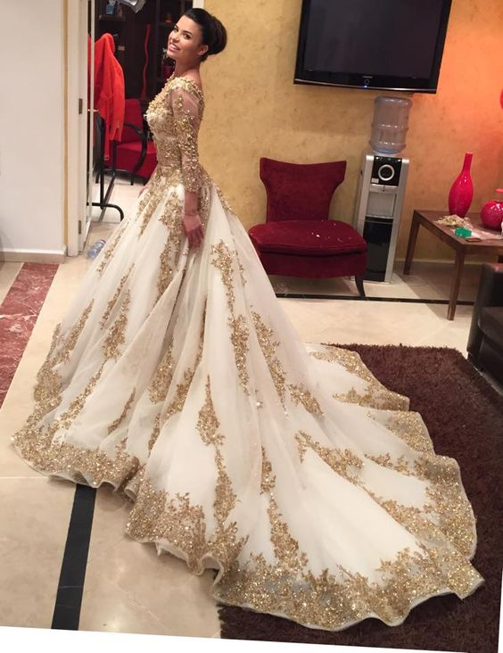Bridal gown with trains