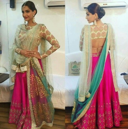Dupatta draping style for lehnga