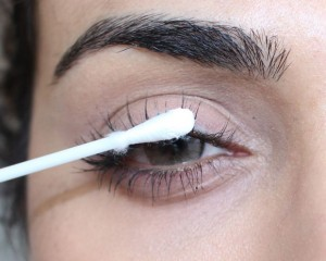 Talcum powder for eye makeup