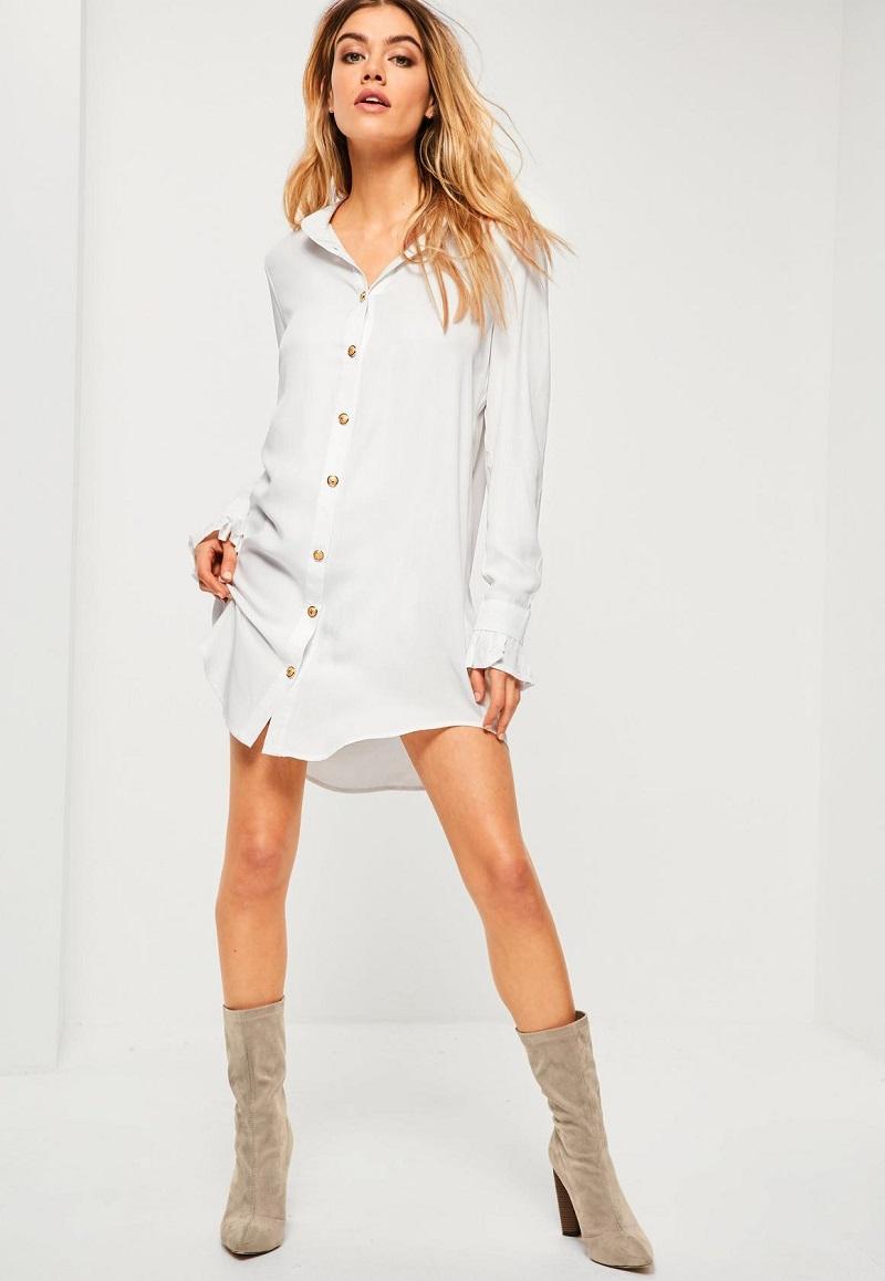 White Deep Cuff Shirt Dress
