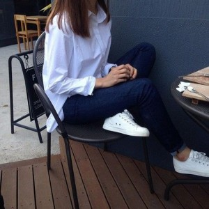White Shirt With Sneaker