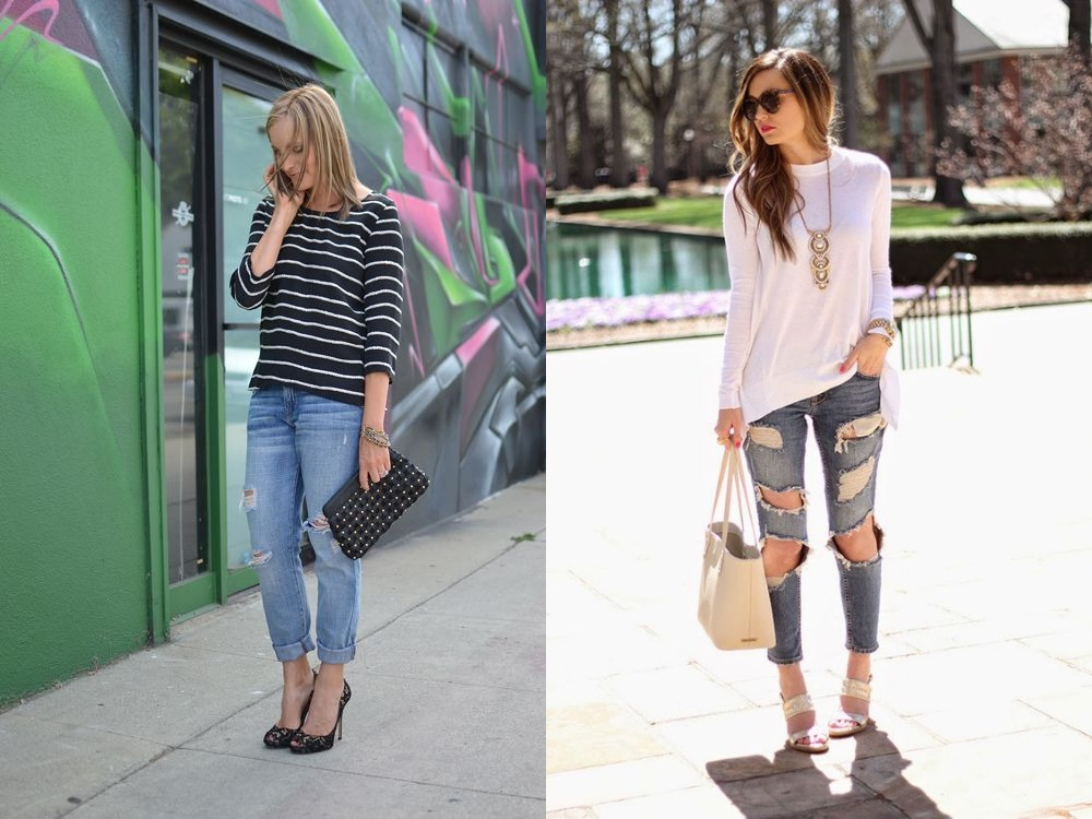Distressed denim styling in monochromes