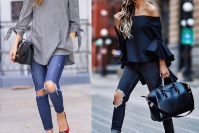 Distressed denim styling with off shoulder top