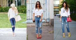 Distressed denim styling with shirt