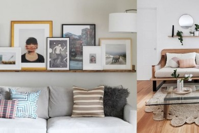 How to display art above sofa