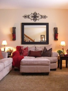 How to display art above sofa
