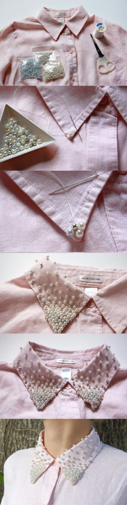 DIY Embellished shirt collar