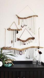 Wooden sticks for jewellery storage