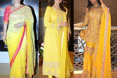 Yellow clothing for 1st day of navratri