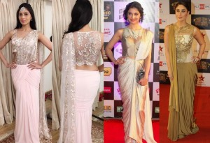 Draped saree for karvachauth