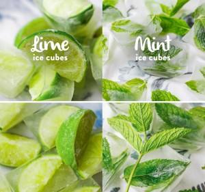 Lemon and mint ice cubes