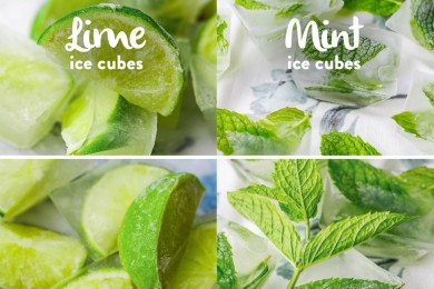 Lemon and mint ice cubes