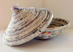 Newspaper and yarn chandelier