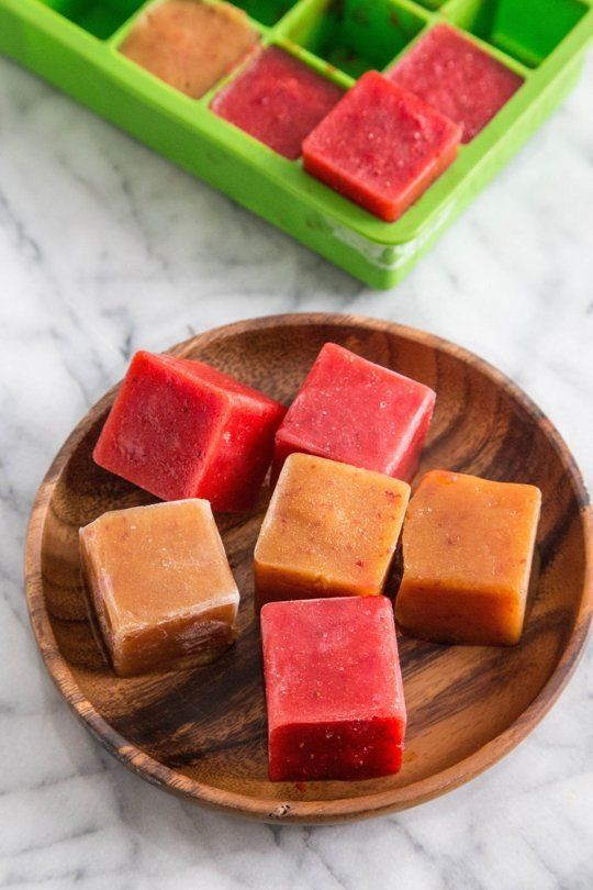 Overripe fruits ice cubes